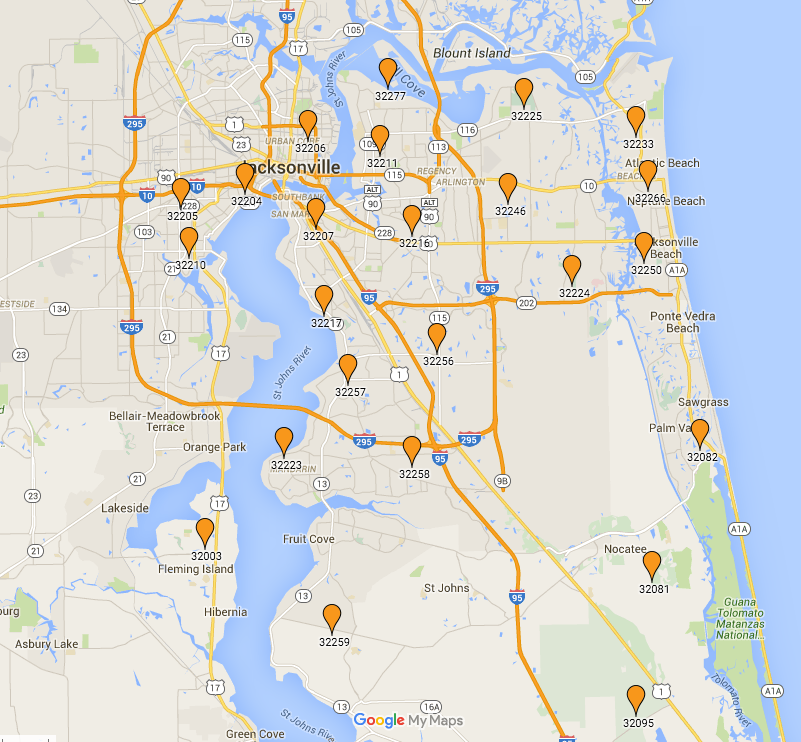 Zip Code Map Jacksonville Florida  Jacksonville Zip Codes